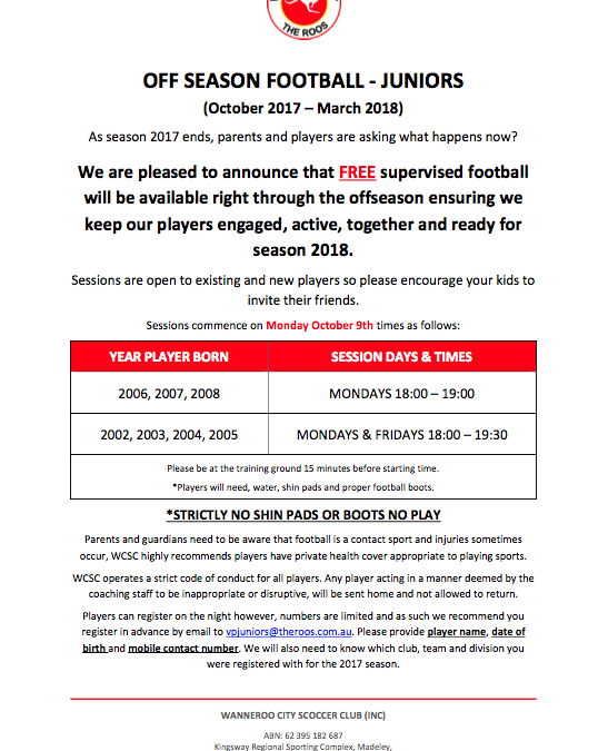 Junior Off-Season Football at Wanneroo City SC