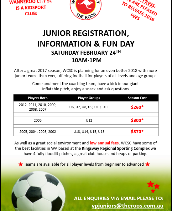WCSC Junior Football Information and Registration Day 2018